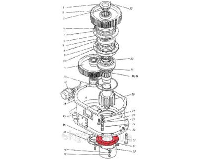 крышка редуктора поворота на экскаватор ЭКГ-5 номер чертежа 1080.16.34