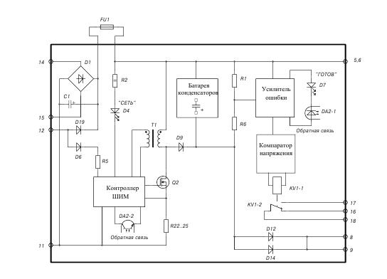Блок питания ВР/TEL-220-02А: схема
