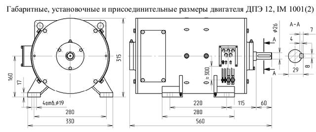 Размеры электродвигателя ДПЭ-12.