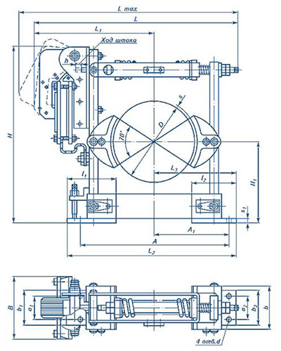 Схема тормоз ТКТ-200 с электромагнитом МО-200Б